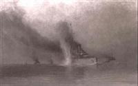 der italienische kreuzer 'amalfi' wird torpediert by august von ramberg