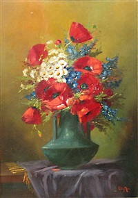 a still life with field poppies and other flowers in a green vase by tilly moes