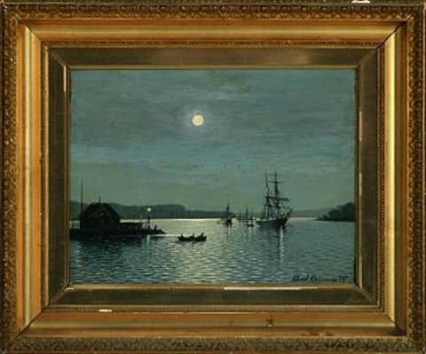 moonlight with sailing ships in the roads svendborgsund by albert kromann