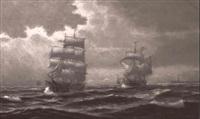 mehrere segelschiffe im sund vor helsing
