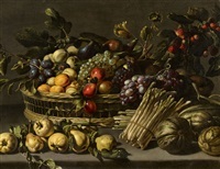 Still Life with Fruit in a Basket surrounded by...