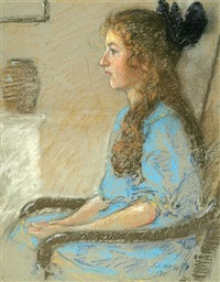 seated child's profile by elmer livingston macrae