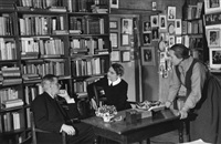 james joyce with adrienne monnier and sylvia beach in the bookshop shakespeare & co., paris by gisèle freund