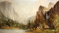 yosemite valley, view from bridal veil meadows by thomas virgil troyon hill