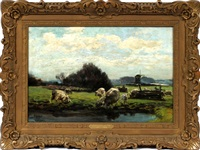sheep by pond with windmill by mathias joseph alten