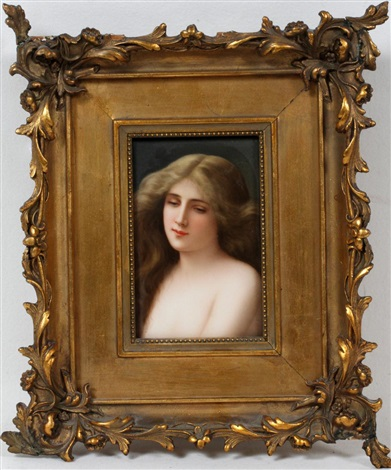 kpm hand painted porcelain plaque 19th c 6 x 4 solitude buste