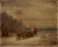 bauernfamilie mit hündchen auf einem schlitten holz heimführend by hermann volz