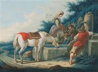 pferde an der tränke by johann jakob hoch