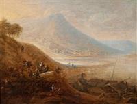 belebte flusslandschaft - im hintergrund ein städtchen by robert griffier