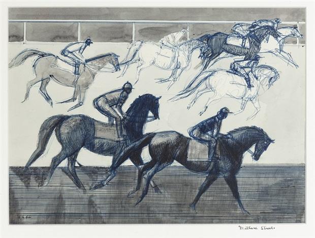 Jockeys And Horses By Millard Sheets