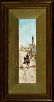spanische reiter in der nähe eines dorfes by jose alvarez fernandez