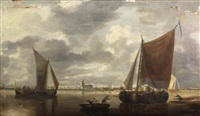 boats off the dutch coast by bonaventura peeters the elder