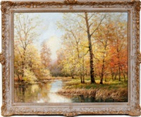 fall scene on rouge river by arthur e. bracy