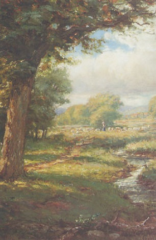 pastoral landscape with a shepherd and his flock by franklin c courter