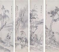 vier hängerollen mit figuralen darstellungen, die die jahreszeiten symbolisieren by zhou ji