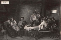 nine bavarian figures about a table by leopold eberhard