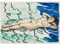 nude; spring bathing (2 sketches) by junichiro sekino