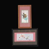 hummingbird nest & hummingbird on branch (2 works) by jade fon
