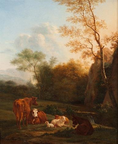 landschaft mit esel kühen und schafen by karel dujardin