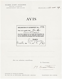 avis, declaration of authenticity no. 071 by marcel broodthaers