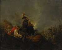 bataljscen från leuthen - tyskland by bernhard (christian bernhard) rode