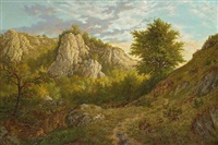 a rocky landscape with trees by andré sodar
