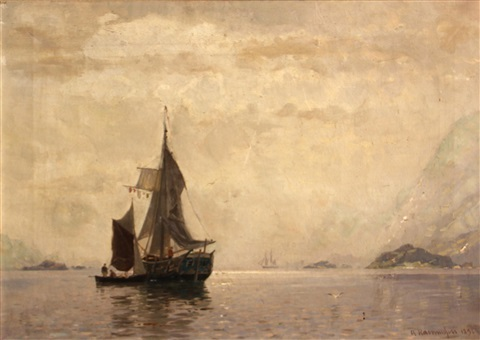 fishing boats in a fjord by georg anton rasmussen