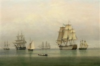 warships on a calm sea by john ward of hull