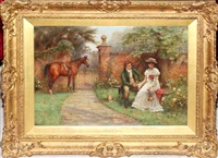 courting couple in garden with horse by john sanderson-wells