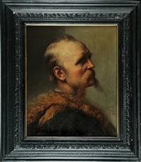 portrait eines herrn mit schnurrbart im pelzmantel by peter baumgartner
