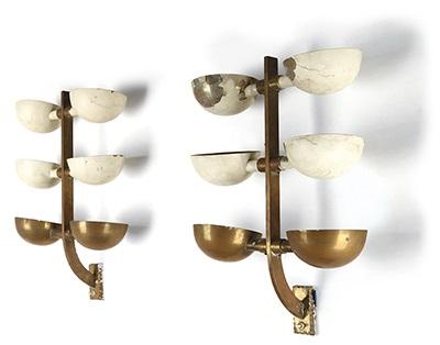 Due lampade a parete a coppette orientabili works by pietro
