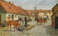 gårdsinteriör med kavallerister och hästar by johan georg arsenius