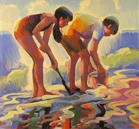 children playing in the sand by keith lindberg