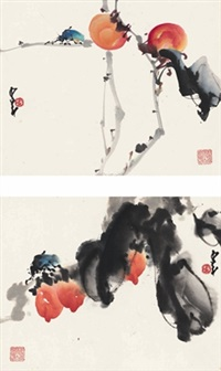 红果草虫图 (insects and fruits) (2 works) by zhao shaoang
