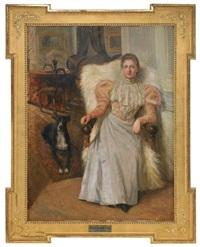 borgerlig interiör med sittande kvinna och hund by waldemar lindholm