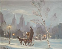 snow in central park by bela de tirefort