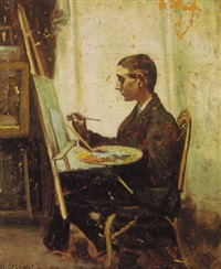 the young artist at the easel by alfred c. rodriguez
