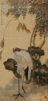 鹤寿图 (crane and rock) by hu gongshou and ren bonian