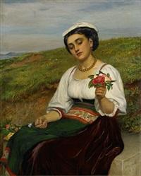 ung kvinna med blommor by charles sillem lidderdale