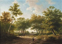 travelers in a forest during a sunny day by hendrik pieter koekkoek