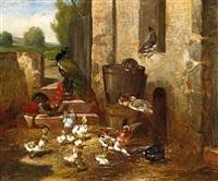 hühner, enten und ein pfau hinter dem stall by philibert-leon couturier