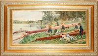 depicts scullers doing portage by f. godot