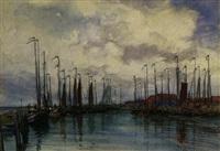 fischerboote im hafen by johannes josseaud