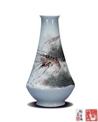 粉彩虾藻纹瓶 by deng xiaoyu