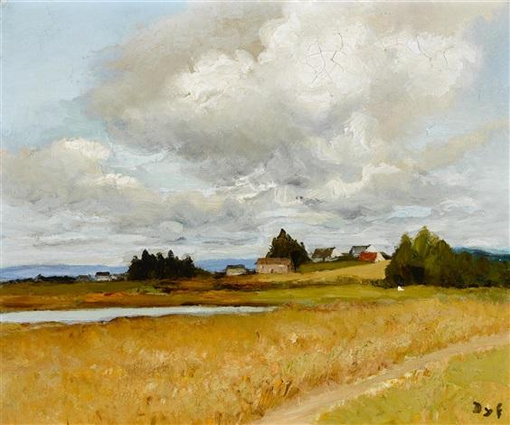 paysage de bretagne avec une mare by marcel dyf