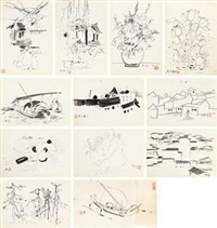 写生稿 (十二张) (12 works; various sizes) by wu guanzhong