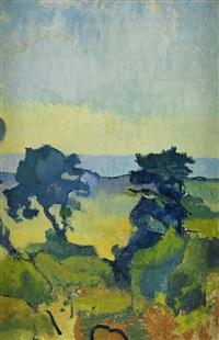kustlandskap med två träd, gotland by ivan agueli
