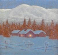 norrländskt vinterlandskap i skymning by bror lind