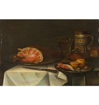stillleben mit schinken, römer, bierkrug, senftopf und pampelmuse by alexander adriaenssen the elder