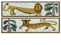 a pair of evelyn ackerman mosaics by evelyn ackerman